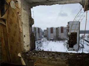 Icy Grip: Fighting has rendered many buildings uninhabitable as winter grips the eastern Ukraine city of Lugansk.