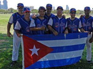 Debutants: Members of Cuba?s first-ever Maccabiah Games team poses in Israel.