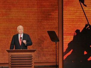 Steady Hand: Sen. John McCain addresses Republican National Convention in Tampa.
