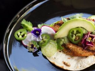 Mexikosher, a new Manhattan restaurant (whose chicken taco is pictured here), is among only eight kosher entries in the 2017 food guide.