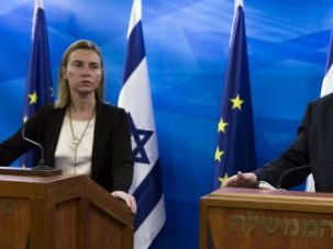 Federica Mogherini speaks at press conference with Israeli Prime Minister Benjamin Netanyahu.