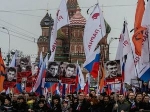 Marchers rally in Moscow to protest the murder of opposition leader Boris Nemtsov.