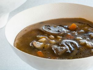 Tal Ronnen's mushroom farro soup is a perfect comfort food for a chilly day.