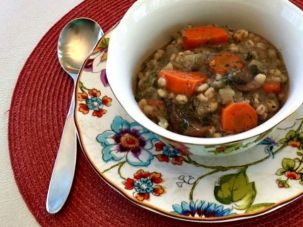 The author's mushroom-barley soup.