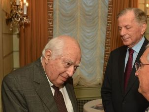 Neocon Bash: Bernard Lewis, considered an ideological godfather of the neoconservative movement, greets well-wishers at a gala in his honor.