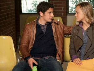 Alter-egos: Jason Biggs, who plays Larry Smith?s character on the hit series, talks to Taylor Schilling, in the role of Smith?s then-fiance, Piper Kerman.