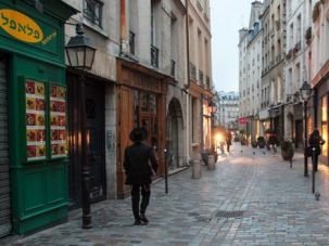 A street scene in the Marais, the historic Jewish neighborhood in Paris.
