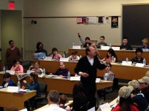 Strictly Business: Perelman Jewish Day School students participate in a class trip at Wharton School at the University of Pennsylvania.