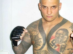 Bad Dude: Hungarian kickboxer Attila Petrovszki was banned from a tournament because of his Nazi skin art.