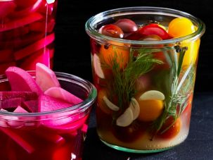 Pickled turnips (left) and cherry tomatoes from Leah Koenig's 'Little Book Of Jewish Appetizers.'