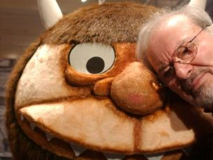 Beloved: Maurice Sendak standing with a character from his book ?Where the Wild Things Are,? in 2002.