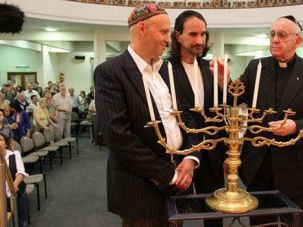 Close Ties: The future pope visits a synagogue in Argentina for Hanukkah.