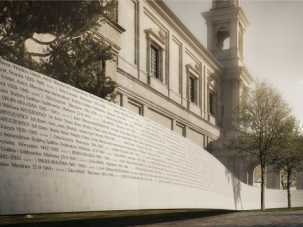Righteous Ribbon: A ribbon emblazoned with names of Polish 'righteous gentiles' would wrap around a church in a planned memorial in Warsaw.