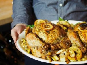 Roast chicken with za'atar, lemons and shallots is as easy to make as it is comforting to eat.