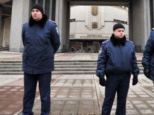 Restive Region: Ukrainian police guard government buildings in Simferopol in the Crimea.