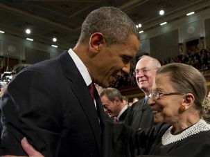 Help Wanted? President Obama greets Supreme Court Justice Ruth Bader Ginsburg. Will the ailing judge resign now that Obama has won reelection?