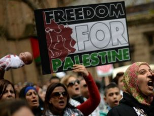 Protesters shout slogans during a rally in Sydney against Israel's military campaign in Gaza.