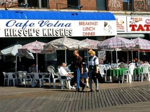 The Brighton Beach boardwalk is lined with non-kosher Russian restaurants, though the area has a large Russian-Jewish population.