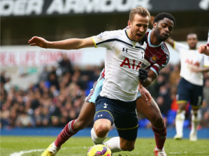 Harry Kane of Tottenham Hotspur wins a penalty in closing seconds of game with London rivals West Ham United.