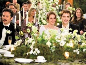 Bella and Edward's wedding reception, complete with Twilight china pattern.