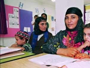 Forced to Flee: Yemeni Jews get instruction at a center for immigrants in Israel.