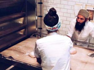 Zak Stern, AKA Zak the Baker, making bread at the bakery.