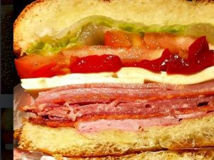 Assimilator Special: Zaro's Italian combo of salami, ham and cheese on a challah roll.