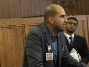 Professor Steven Salaita speaks at a press conference in Champaign, Illinois.