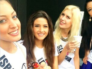 Consorting With the Enemy? Miss Israel Doron Matalon posted a photo of herself with Miss Lebanon Saly Greige.