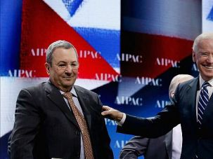 All Smiles: Vice President Joe Biden and then-Israel Defense Minister Ehud Barak at last years? AIPAC annual conference.