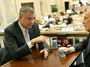 Mayor Bill: The morning after his landslide win, newly minted New York Mayor Bill De Blasio has coffee with his predecessor, Michael Bloomberg.