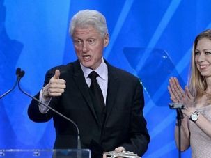 Famed Family: Chelsea Clinton and her famous father speak at a gay rights group?s gala dinner.
