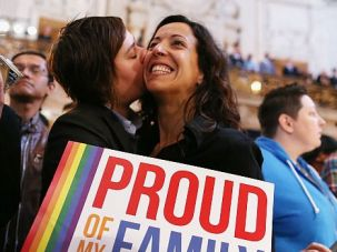 Historic Decision: Couple celebrates the Supreme Court?s decision to strike down the Defense of Marriage Act. The court also blocked California?s anti-gay marriage Proposition 8, although it stopped short of proclaiming a fundamental right to gay marriage.