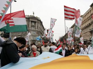 Surge of Intolerance: Hungarian supporters of the far-right Jobbik Party march through Budapest. Neo-fascists are expected to make gains across Europe in upcoming elections for the continental parliament.