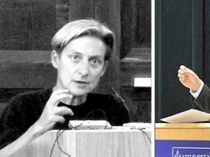 Debate: Ido Aharoni (right), Israel?s consul general, aims to brand Israel as open to gays, while professor Judith Butler (left) charges that Israel?s gay rights profile is being used to justify other abuses.