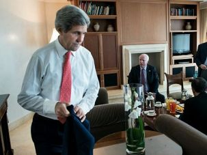 Where?s Progress? Secretary of State John Kerry meets with Sen. John McCain in Jerusalem. Protests greeted his planned visit to the West Bank, where Palestinians are angry at the slow pace of peace talks.