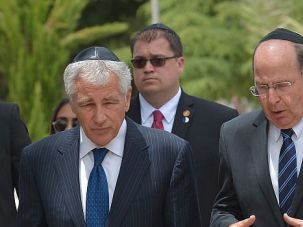 Hardliner: Israeli defense minister Moshe Yaalon, right, chats with Defense Secretary Chuck Hagel during a recent visit.