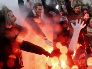 Paris Protest: Demonstrators flash anti-Semitic signs at a protest in Paris in January.