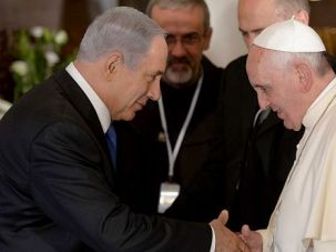 Sharp Words: Pope Francis greets Israeli Prime Minister Benjamin Netanyahu. The pair traded sharp words about — of all things — the language spoken by Jesus Christ.