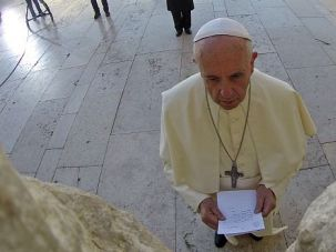 Give Us Peace: Pope Francis leaves note at Western Wall in Jerusalem.