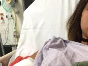 Not Much of a Vacation: Yovel Lewkowski posted this image of herself in hospital.