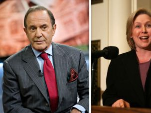 Party Politics: Mort Zuckerman (left) may run for the U.S. Senate seat now held by Kirsten Gillibrand (right).