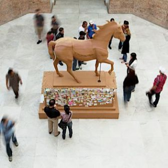 A Horse of a Different Color: Visitors to the Brooklyn Museum pause to admire Paul Ramirez Jonas's 'The Commons.'