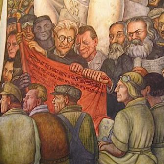 Let's Unite: Part of the 1934 mural by Diego Rivera in Mexico City depicts Leon Trotsky (with glasses), Friedrich Engels and Karl Marx.