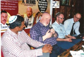 Jonathan Bernis, at center with microphone, with other members of Jewish Voice Ministries International on a visit to Nnewi, Nigeria this August.