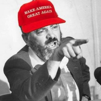 "The avatar image of a Kahanist Facebook group depicts Meir Kahane wearing a pro-Trump ""Make America Great Again"" hat."
