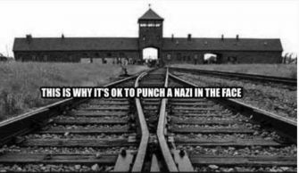 "A graphic shared by the Jewish Antifa Facebook page presents the German camp of Auschwitz as a justification for why ""it's OK to punch a Nazi in the face."""
