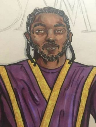 An illustration of Kendrick Lamar wearing the distinctive gold and purple garb of Israel United In Christ drawn by Ahmanah Ivah Baht Israel. A public Facebook image of the illustration was shared online.