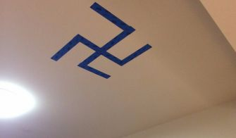 At Rutgers, a student taped a swastika on a campus ceiling, but claimed it was a Buddhist symbol.