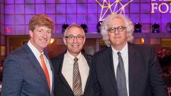 Fighting for Health:  Patrick Kennedy (left)and Tom Insel, former head of The National Institute of Mental Health, pictured with Stephen Fried.